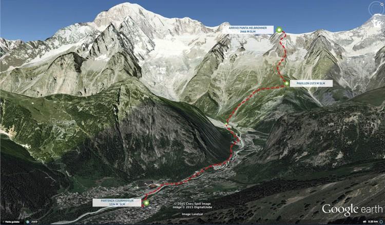 Trazado Courmayeur Mont Blanc Sky Race